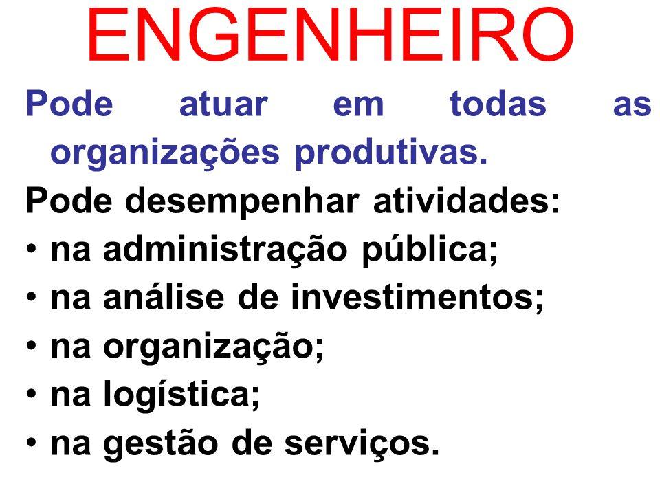 ENGENHEIRO Pode atuar em todas as organizações produtivas. Pode desempenhar atividades: na administração pública; na análise de investimentos; na orga