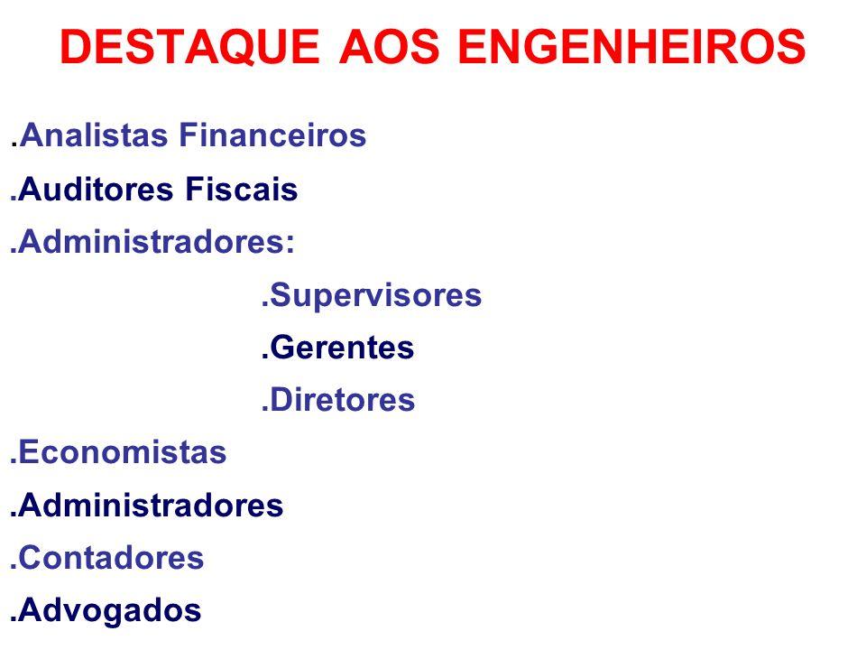 DESTAQUE AOS ENGENHEIROS. Analistas Financeiros.Auditores Fiscais.Administradores:.Supervisores.Gerentes.Diretores.Economistas.Administradores.Contado