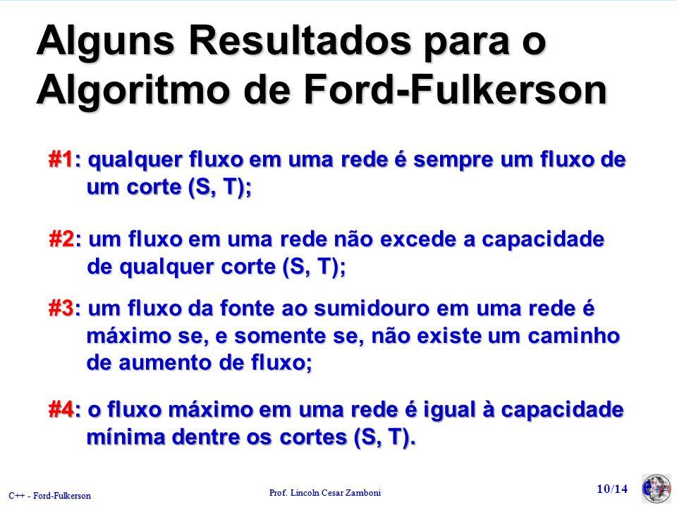C++ - Ford-Fulkerson Prof. Lincoln Cesar Zamboni Alguns Resultados para o Algoritmo de Ford-Fulkerson #1: qualquer fluxo em uma rede é sempre um fluxo