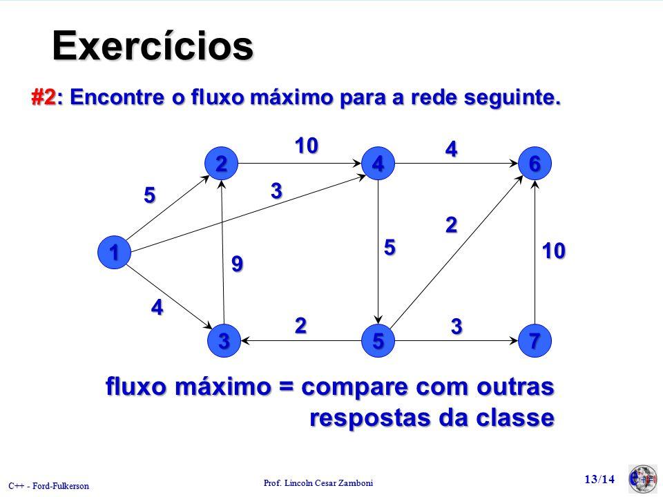 C++ - Ford-Fulkerson Prof. Lincoln Cesar Zamboni Exercícios #2: Encontre o fluxo máximo para a rede seguinte. 1 24 35 5109 3 5 2 4 6 7 4 2 10 3 fluxo