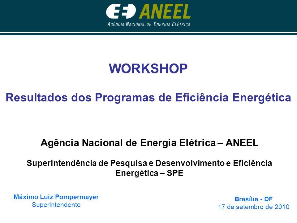 WORKSHOP Resultados dos Programas de Eficiência Energética Máximo Luiz Pompermayer Superintendente Brasília - DF 17 de setembro de 2010 Agência Nacion