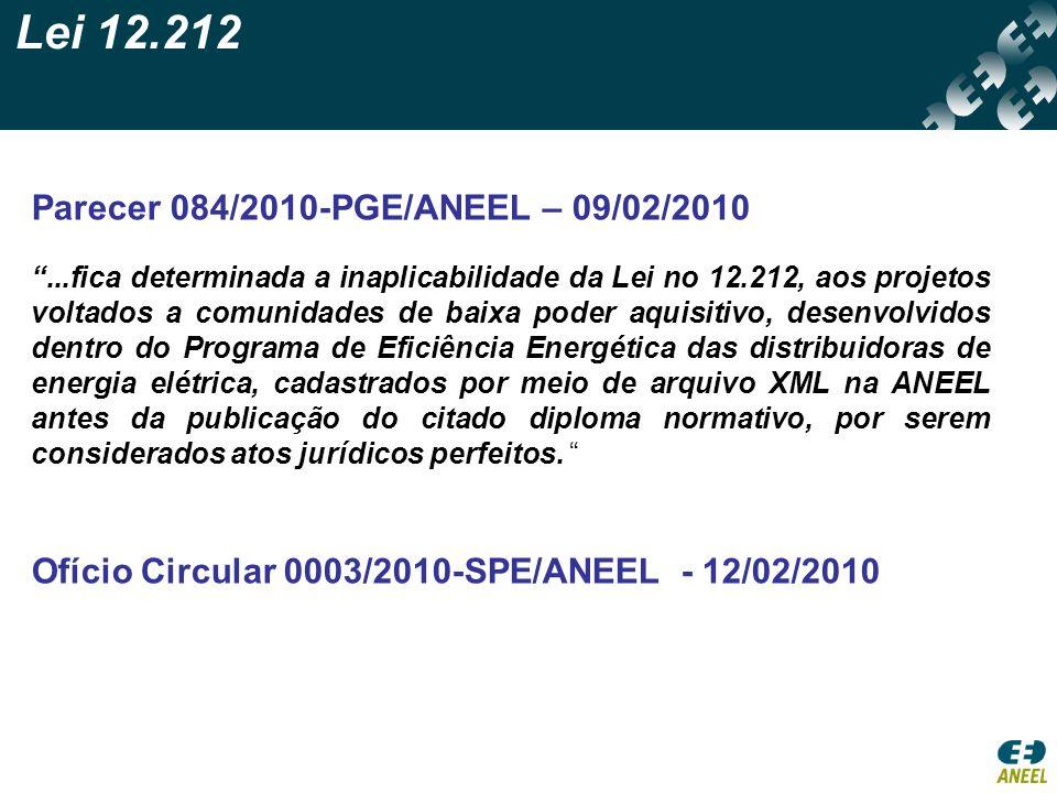 Lei 12.212 Parecer 084/2010-PGE/ANEEL – 09/02/2010...fica determinada a inaplicabilidade da Lei no 12.212, aos projetos voltados a comunidades de baix
