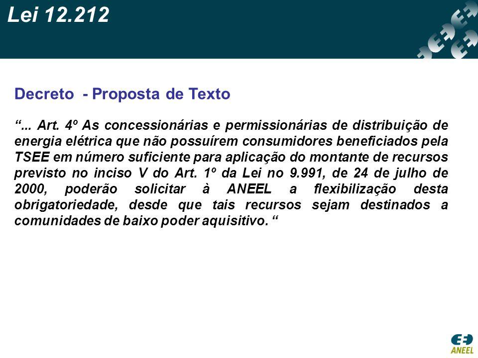 Lei 12.212 Decreto - Proposta de Texto... Art. 4º As concessionárias e permissionárias de distribuição de energia elétrica que não possuírem consumido