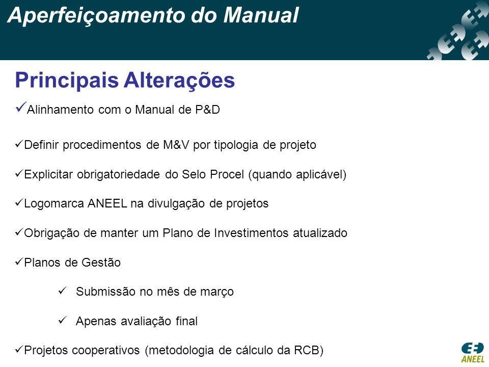 Aperfeiçoamento do Manual Principais Alterações Alinhamento com o Manual de P&D Definir procedimentos de M&V por tipologia de projeto Explicitar obrig