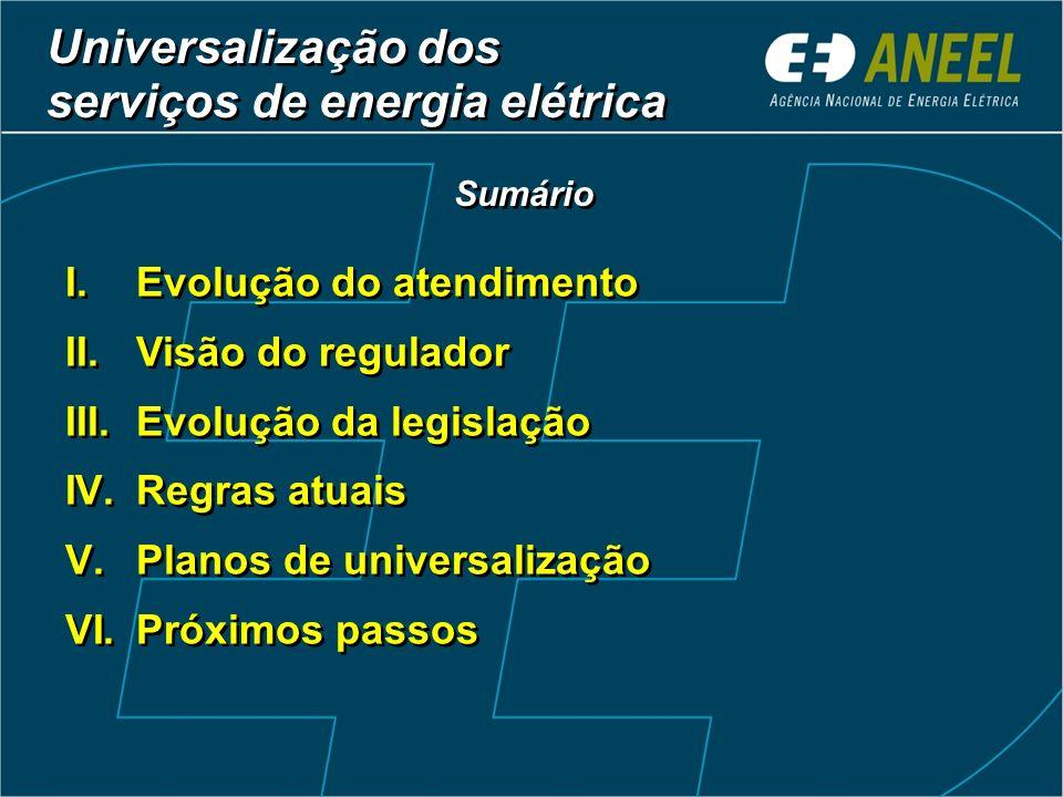 Universalização dos serviços de energia elétrica I.Evolução do atendimento II.Visão do regulador III.Evolução da legislação IV.Regras atuais V.Planos de universalização VI.Próximos passos I.Evolução do atendimento II.Visão do regulador III.Evolução da legislação IV.Regras atuais V.Planos de universalização VI.Próximos passos Sumário