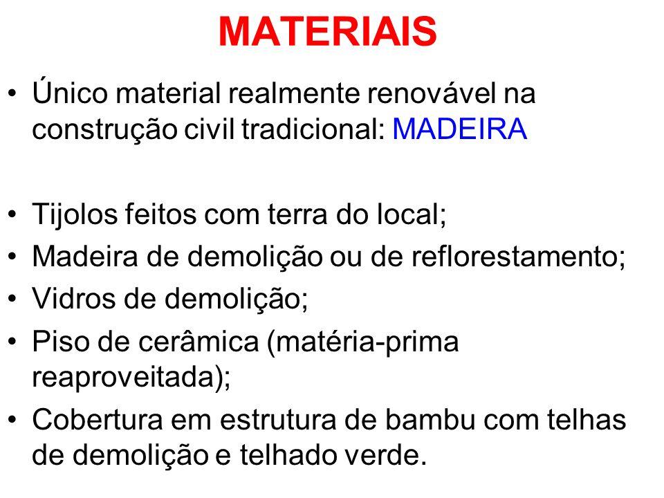 MATERIAIS Único material realmente renovável na construção civil tradicional: MADEIRA Tijolos feitos com terra do local; Madeira de demolição ou de re