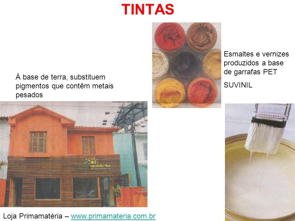 TINTAS Loja Primamatéria – www.primamateria.com.brwww.primamateria.com.br Esmaltes e vernizes produzidos a base de garrafas PET SUVINIL À base de terr