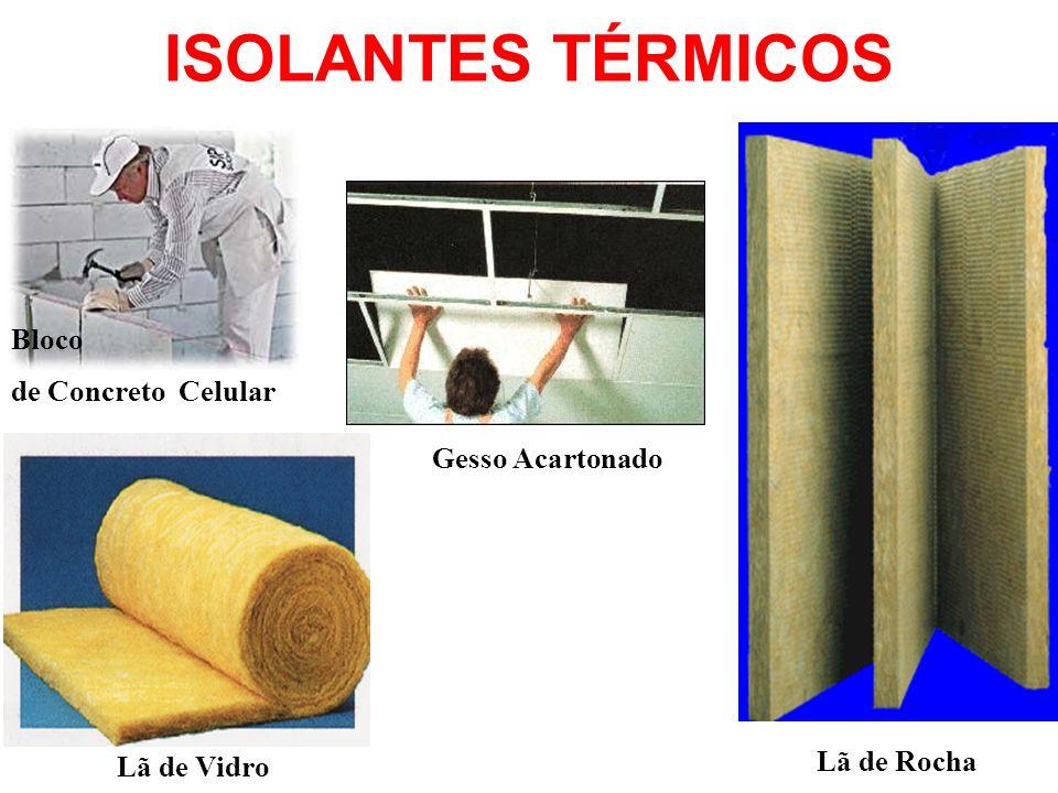 ISOLANTES TÉRMICOS Bloco de Concreto Celular Gesso Acartonado Lã de Vidro Lã de Rocha