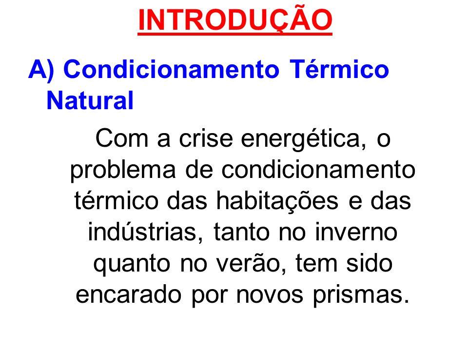 INTRODUÇÃO A) Condicionamento Térmico Natural Com a crise energética, o problema de condicionamento térmico das habitações e das indústrias, tanto no