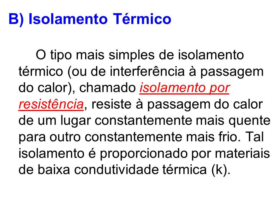 B) Isolamento Térmico O tipo mais simples de isolamento térmico (ou de interferência à passagem do calor), chamado isolamento por resistência, resiste