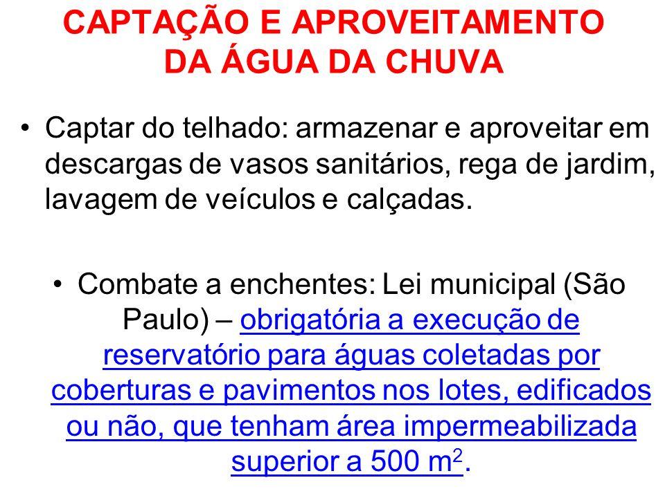 CAPTAÇÃO E APROVEITAMENTO DA ÁGUA DA CHUVA Captar do telhado: armazenar e aproveitar em descargas de vasos sanitários, rega de jardim, lavagem de veíc