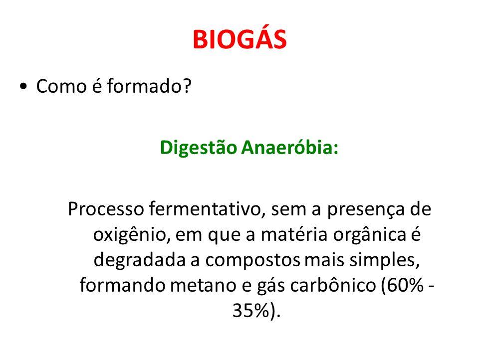 BIOGÁS Como é formado? Digestão Anaeróbia: Processo fermentativo, sem a presença de oxigênio, em que a matéria orgânica é degradada a compostos mais s