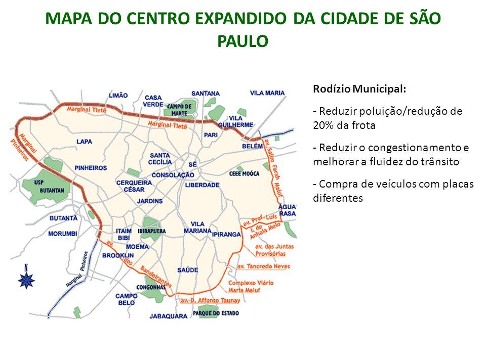 MAPA DO CENTRO EXPANDIDO DA CIDADE DE SÃO PAULO Rodízio Municipal: - Reduzir poluição/redução de 20% da frota - Reduzir o congestionamento e melhorar