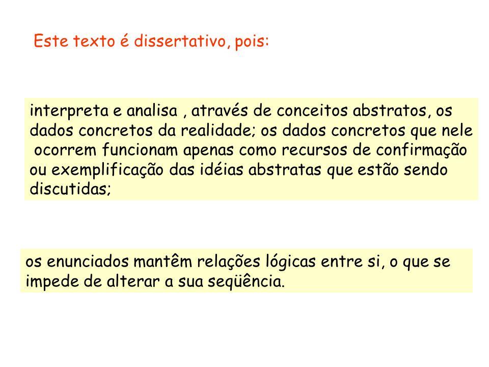 Dissertação é o tipo de texto que analisa e interpreta dados da realidade por meio de conceitos abstratos. As condições de bem-estar e de comodidade n