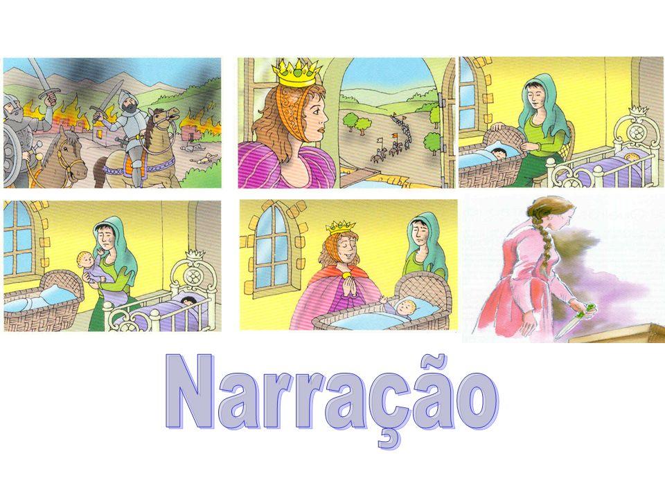 : narração: a visão de mundo do enunciador é transmitida por meio das ações que ele atribui aos personagens, por meio da caracterização que faz deles.