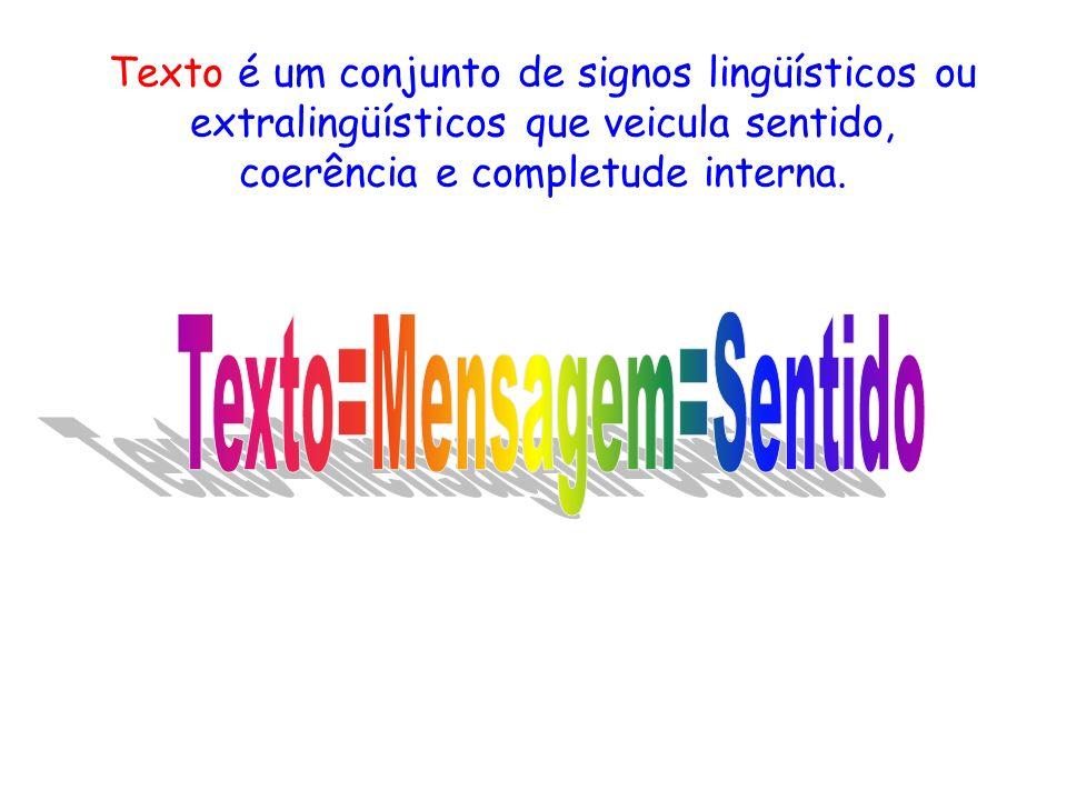 Texto é um conjunto de signos lingüísticos ou extralingüísticos que veicula sentido, coerência e completude interna.