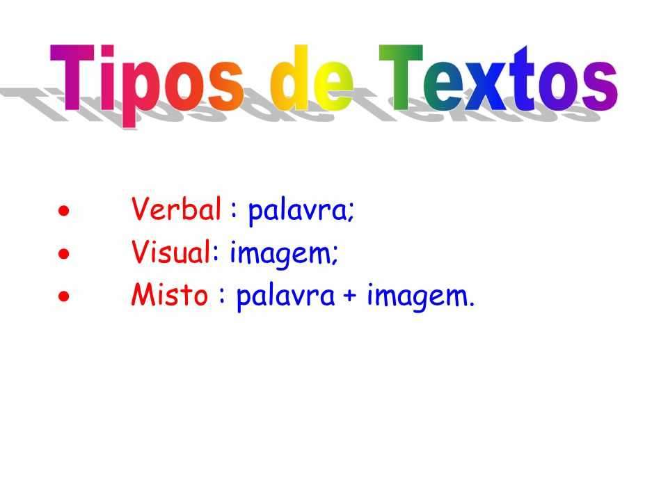 Verbal : palavra; Visual: imagem; Misto : palavra + imagem.