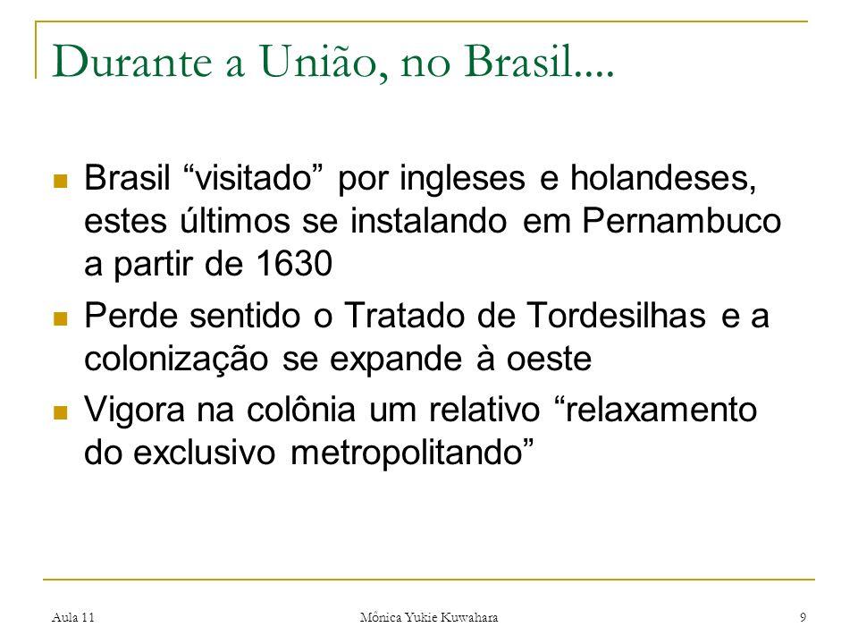 Aula 11 Mônica Yukie Kuwahara 9 Durante a União, no Brasil.... Brasil visitado por ingleses e holandeses, estes últimos se instalando em Pernambuco a