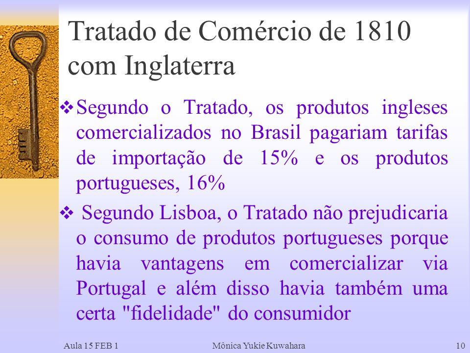 Aula 15 FEB 1Mônica Yukie Kuwahara10 Segundo o Tratado, os produtos ingleses comercializados no Brasil pagariam tarifas de importação de 15% e os produtos portugueses, 16% Segundo Lisboa, o Tratado não prejudicaria o consumo de produtos portugueses porque havia vantagens em comercializar via Portugal e além disso havia também uma certa fidelidade do consumidor Tratado de Comércio de 1810 com Inglaterra