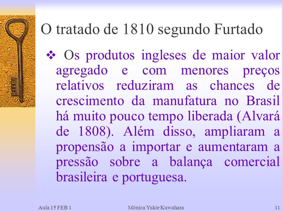 Aula 15 FEB 1Mônica Yukie Kuwahara11 Os produtos ingleses de maior valor agregado e com menores preços relativos reduziram as chances de crescimento da manufatura no Brasil há muito pouco tempo liberada (Alvará de 1808).