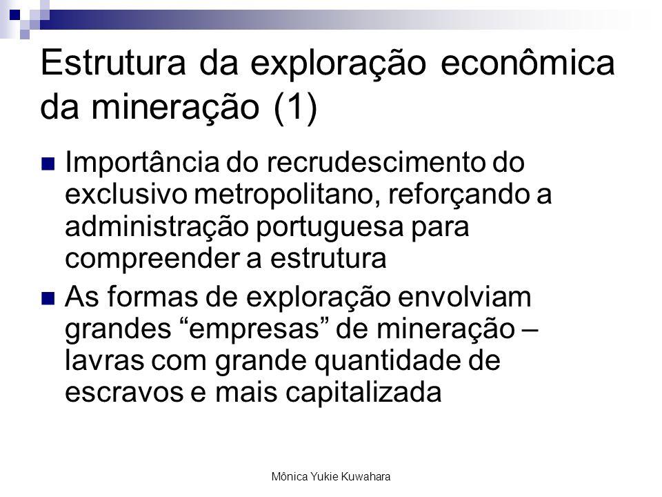Mônica Yukie Kuwahara Estrutura da exploração econômica da mineração (1) Importância do recrudescimento do exclusivo metropolitano, reforçando a admin