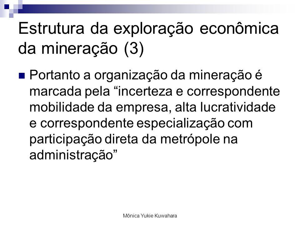Mônica Yukie Kuwahara Estrutura da exploração econômica da mineração (3) Portanto a organização da mineração é marcada pela incerteza e correspondente