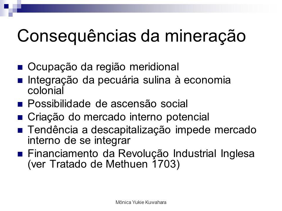 Mônica Yukie Kuwahara Consequências da mineração Ocupação da região meridional Integração da pecuária sulina à economia colonial Possibilidade de asce