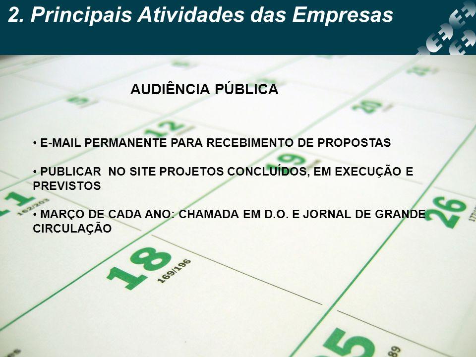 2. Principais Atividades das Empresas AUDIÊNCIA PÚBLICA E-MAIL PERMANENTE PARA RECEBIMENTO DE PROPOSTAS PUBLICAR NO SITE PROJETOS CONCLUÍDOS, EM EXECU