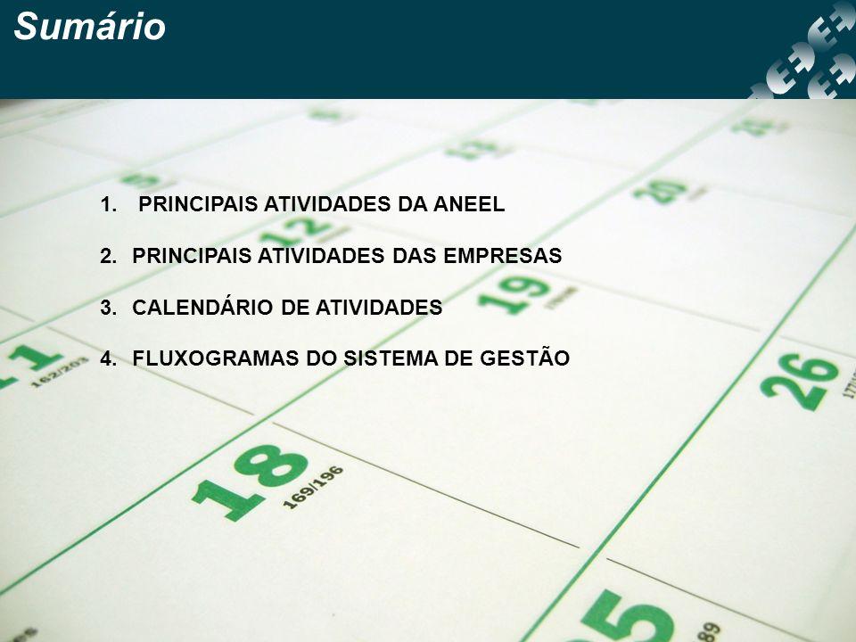 Sumário 1. PRINCIPAIS ATIVIDADES DA ANEEL 2.PRINCIPAIS ATIVIDADES DAS EMPRESAS 3.CALENDÁRIO DE ATIVIDADES 4.FLUXOGRAMAS DO SISTEMA DE GESTÃO
