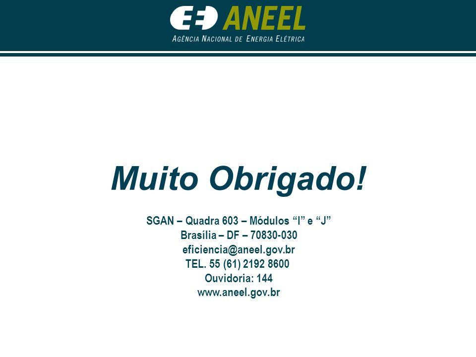 Muito Obrigado! SGAN – Quadra 603 – Módulos I e J Brasília – DF – 70830-030 eficiencia@aneel.gov.br TEL. 55 (61) 2192 8600 Ouvidoria: 144 www.aneel.go
