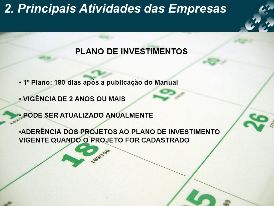 2. Principais Atividades das Empresas PLANO DE INVESTIMENTOS 1º Plano: 180 dias após a publicação do Manual VIGÊNCIA DE 2 ANOS OU MAIS PODE SER ATUALI