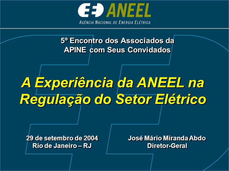 Acréscimo Anual da Geração (1990 – 2003) Acréscimo Anual da Geração (1990 – 2003) 1.106 4.618 2.327 2.828 4.262 2.506 2.929 1.407 1.218 1.173 908 1.091 925 0 0 500 1.000 1.500 2.000 2.500 3.000 3.500 4.000 4.500 5.000 1990 1991 1992 1993 1994 1995 1996 1997 1998 1999 2000 2001 2002 ANEEL (dez/1997) ANEEL (dez/1997) Potência (MW) Média 90/94: 1.063 MWMédia 95/99: 2.119 MWMédia 00/03: 3.850 MW Previsão para entrada em operação em 2004 (14.796 MW) 2.314 MW 3.968 MW 6.041 MW 2.473 MW Graves Restrições Graves Restrições Com Restrições Sem Restrições Sem Restrições Entrou em operação Entrou em operação 3.993 2003