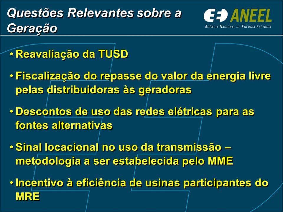 Reavaliação da TUSD Fiscalização do repasse do valor da energia livre pelas distribuidoras às geradoras Descontos de uso das redes elétricas para as f