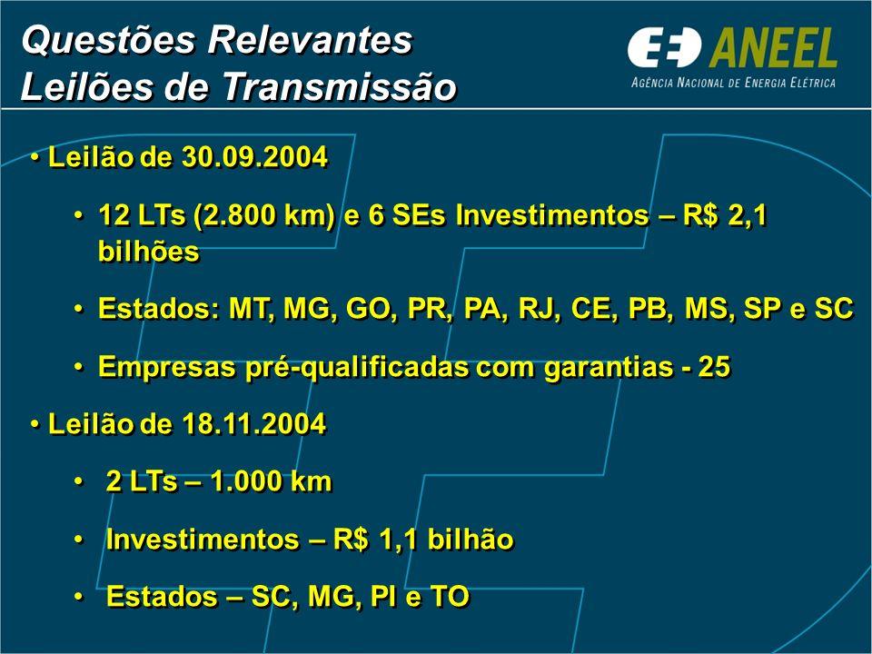 Questões Relevantes Leilões de Transmissão Questões Relevantes Leilões de Transmissão Leilão de 30.09.2004 12 LTs (2.800 km) e 6 SEs Investimentos – R