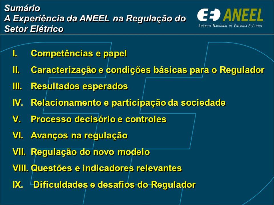 Sumário A Experiência da ANEEL na Regulação do Setor Elétrico Sumário A Experiência da ANEEL na Regulação do Setor Elétrico I.Competências e papel II.