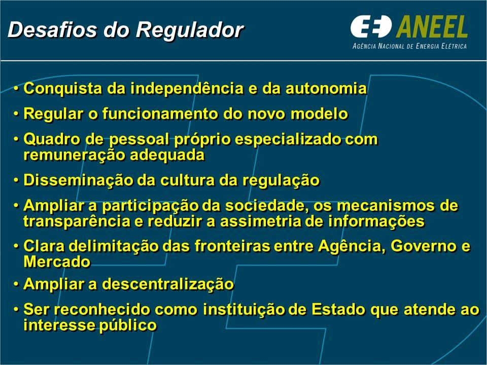 Conquista da independência e da autonomia Regular o funcionamento do novo modelo Quadro de pessoal próprio especializado com remuneração adequada Diss