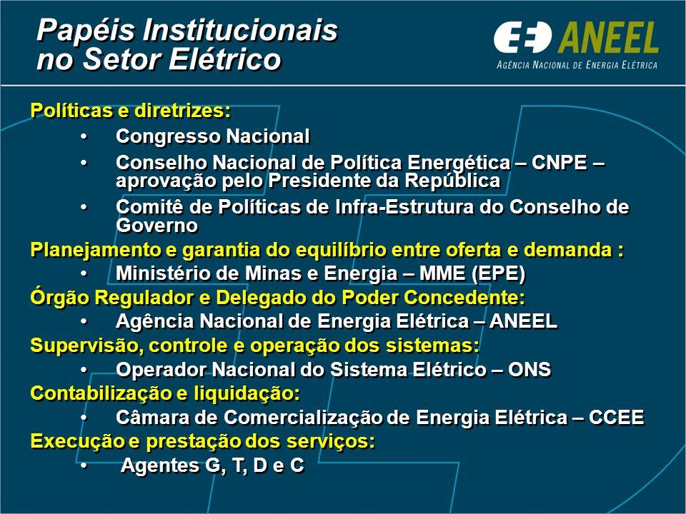 Papéis Institucionais no Setor Elétrico Políticas e diretrizes: Congresso Nacional Conselho Nacional de Política Energética – CNPE – aprovação pelo Pr