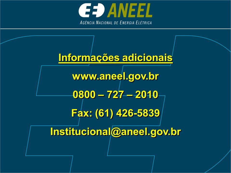 Informações adicionais www.aneel.gov.br 0800 – 727 – 2010 Fax: (61) 426-5839 Institucional@aneel.gov.br Informações adicionais www.aneel.gov.br 0800 –