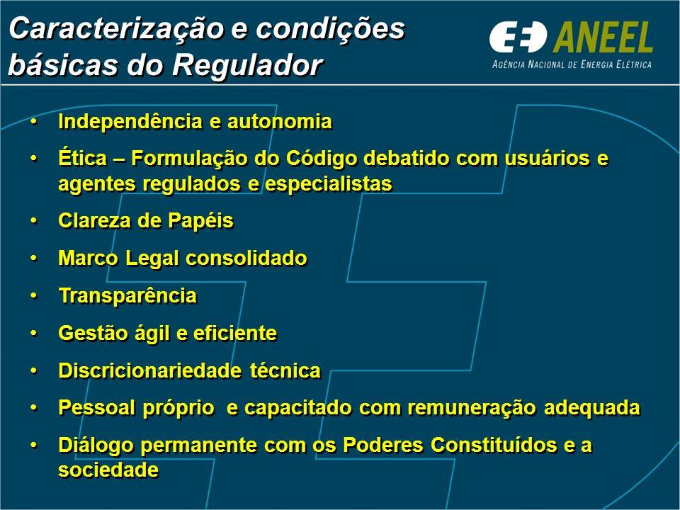 Caracterização e condições básicas do Regulador Caracterização e condições básicas do Regulador Independência e autonomia Ética – Formulação do Código