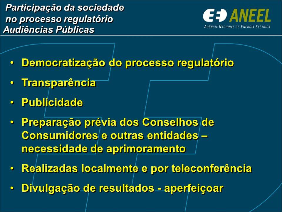 Audiências Públicas Democratização do processo regulatório Transparência Publicidade Preparação prévia dos Conselhos de Consumidores e outras entidade