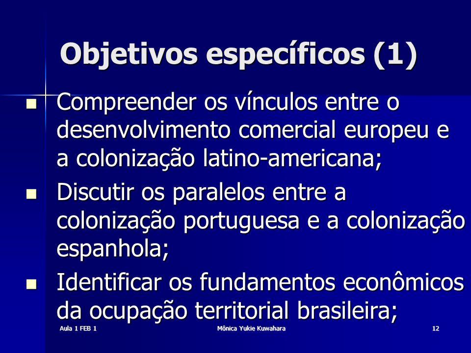 Aula 1 FEB 1Mônica Yukie Kuwahara12 Objetivos específicos (1) Compreender os vínculos entre o desenvolvimento comercial europeu e a colonização latino
