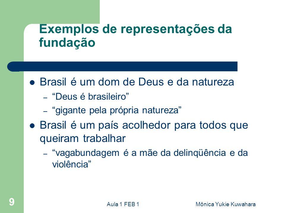 Aula 1 FEB 1Mônica Yukie Kuwahara 9 Exemplos de representações da fundação Brasil é um dom de Deus e da natureza – Deus é brasileiro – gigante pela pr