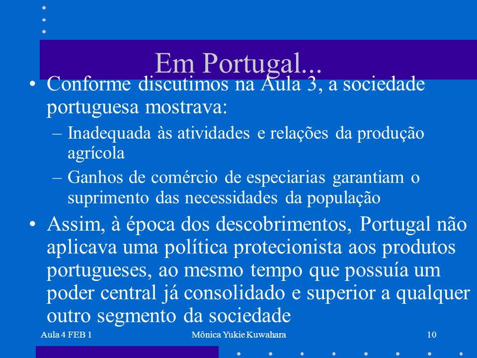 Aula 4 FEB 1Mônica Yukie Kuwahara10 Em Portugal... Conforme discutimos na Aula 3, a sociedade portuguesa mostrava: –Inadequada às atividades e relaçõe