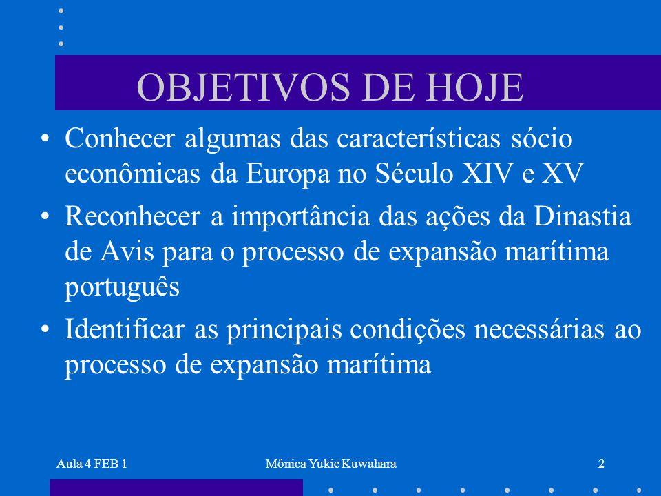 Aula 4 FEB 1Mônica Yukie Kuwahara2 OBJETIVOS DE HOJE Conhecer algumas das características sócio econômicas da Europa no Século XIV e XV Reconhecer a i