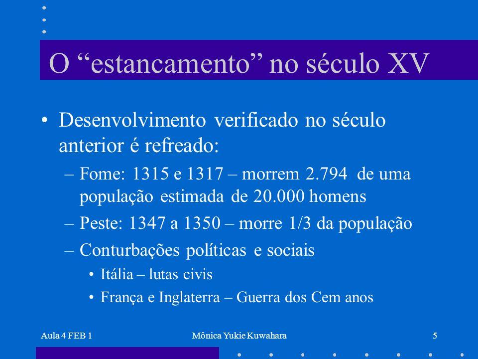 Aula 4 FEB 1Mônica Yukie Kuwahara5 O estancamento no século XV Desenvolvimento verificado no século anterior é refreado: –Fome: 1315 e 1317 – morrem 2
