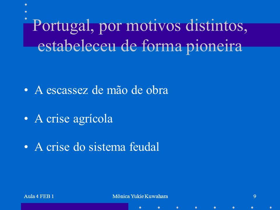 Aula 4 FEB 1Mônica Yukie Kuwahara9 Portugal, por motivos distintos, estabeleceu de forma pioneira A escassez de mão de obra A crise agrícola A crise d