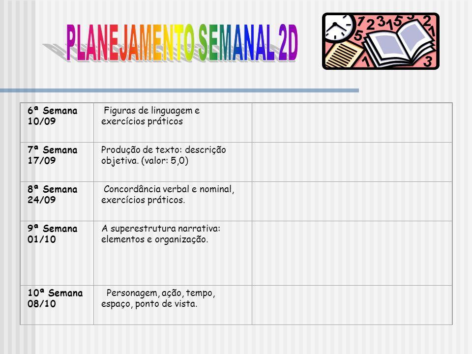 6ª Semana 10/09 Figuras de linguagem e exercícios práticos 7ª Semana 17/09 Produção de texto: descrição objetiva. (valor: 5,0) 8ª Semana 24/09 Concord