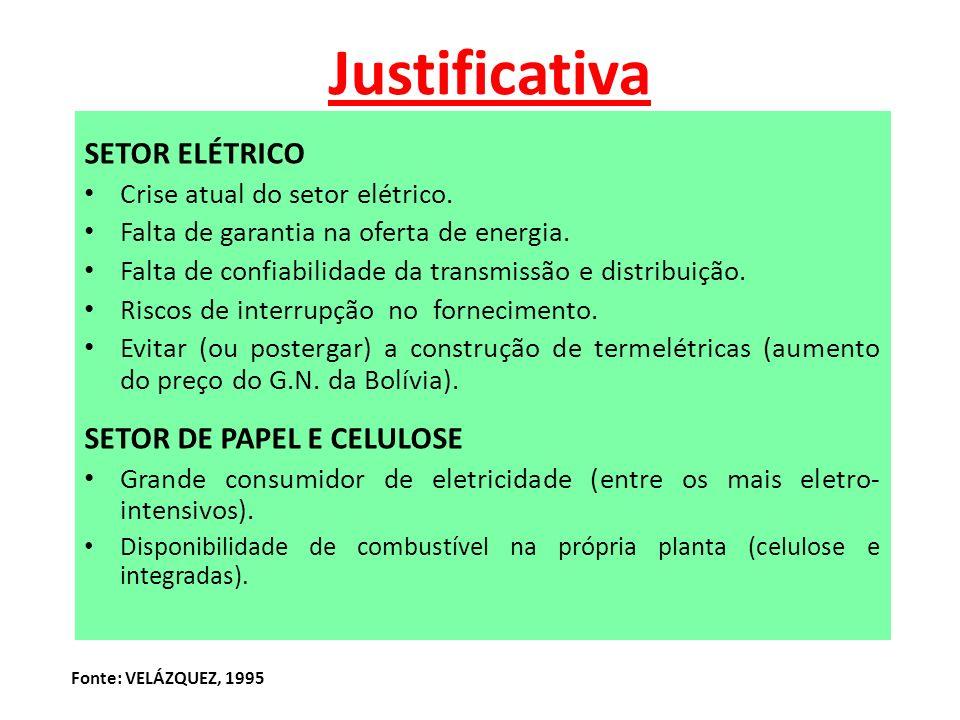 JUSTIFICATIVA PROBLEMAS QUE AFETAM O SETOR ELÉTRICO A DISPONIBILIDADE DE COMBUSTÍVEL E GRANDE CONSUMO DE ENERGIA NAS INDÚSTRIAS DO SEGMENTO DE PAPEL E CELULOSE AS VANTAGENS DA COGERAÇÃO PARA: CONCESSIONÁRIA: COLABORA INDIRETAMENTE NA OFERTA DE ENERGIA INDÚSTRIA: GARANTE SEU SUPRIMENTO SEM RISCO DE INTERRUPÇÃO SOCIEDADE: BENEFICIADA COM MENORES IMPACTOS AMBIENTAIS, ALÉM DOS BENEFÍCIOS ECONÔMICOS Fonte: VELÁZQUEZ, 2000