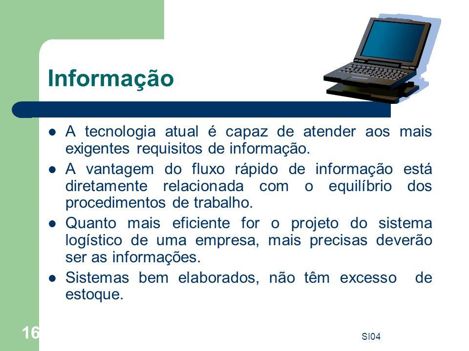 SI04 16 Informação A tecnologia atual é capaz de atender aos mais exigentes requisitos de informação. A vantagem do fluxo rápido de informação está di
