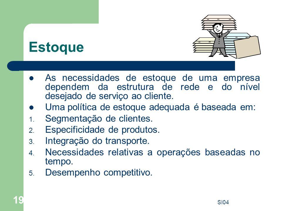 SI04 19 Estoque As necessidades de estoque de uma empresa dependem da estrutura de rede e do nível desejado de serviço ao cliente. Uma política de est